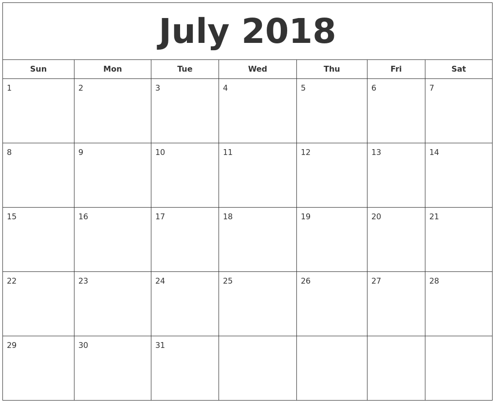 Free Blank Calendar July 2018