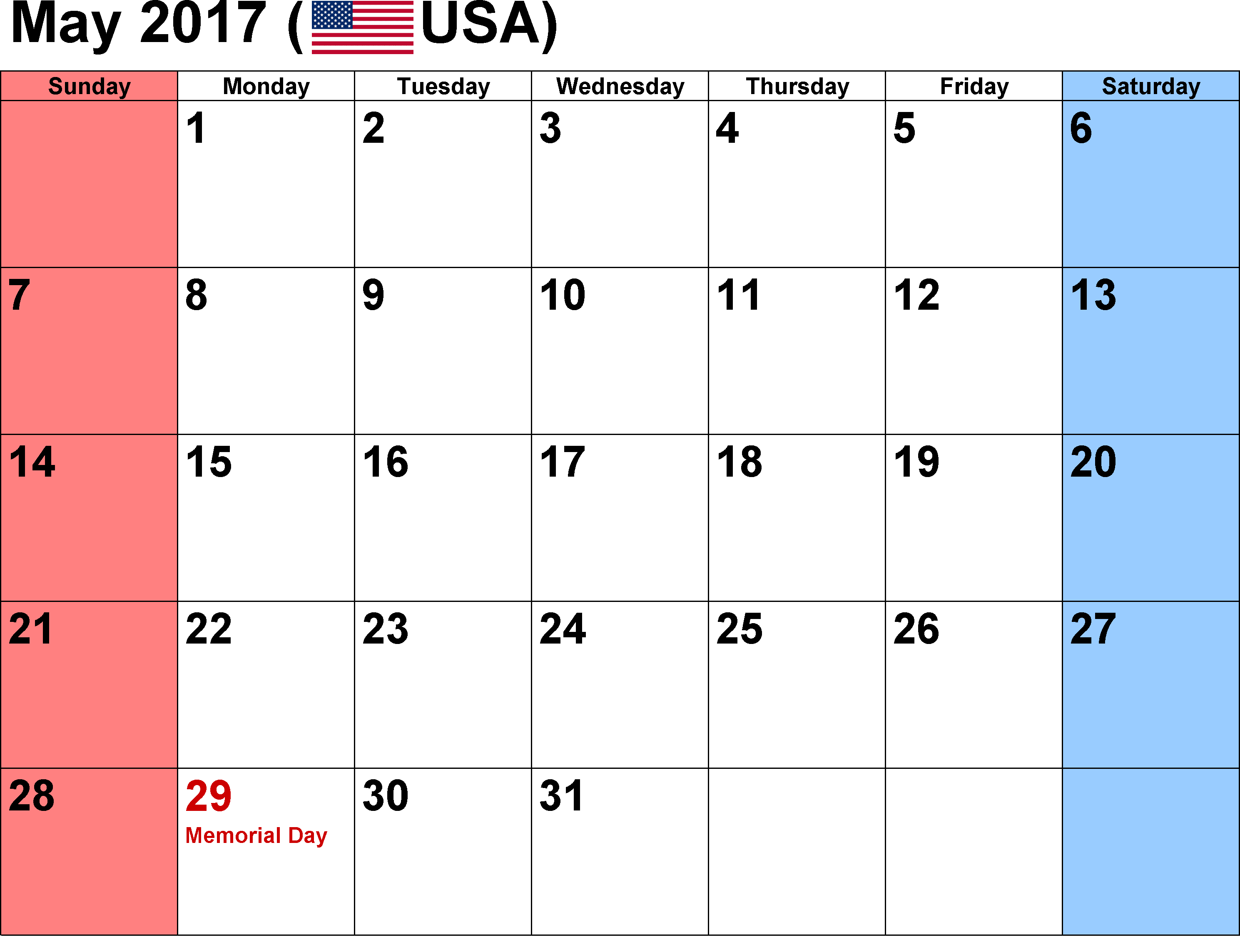 Free Blank Calendar May 2018 Excel