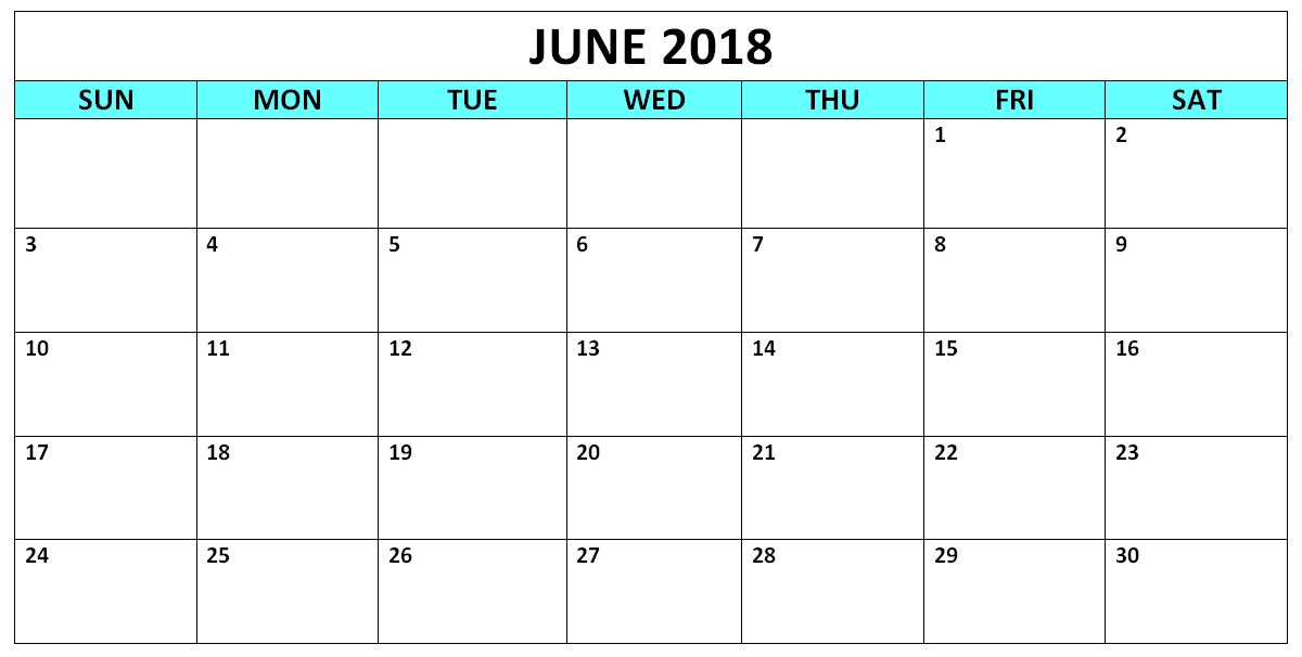 Free Calendar June 2018 Download