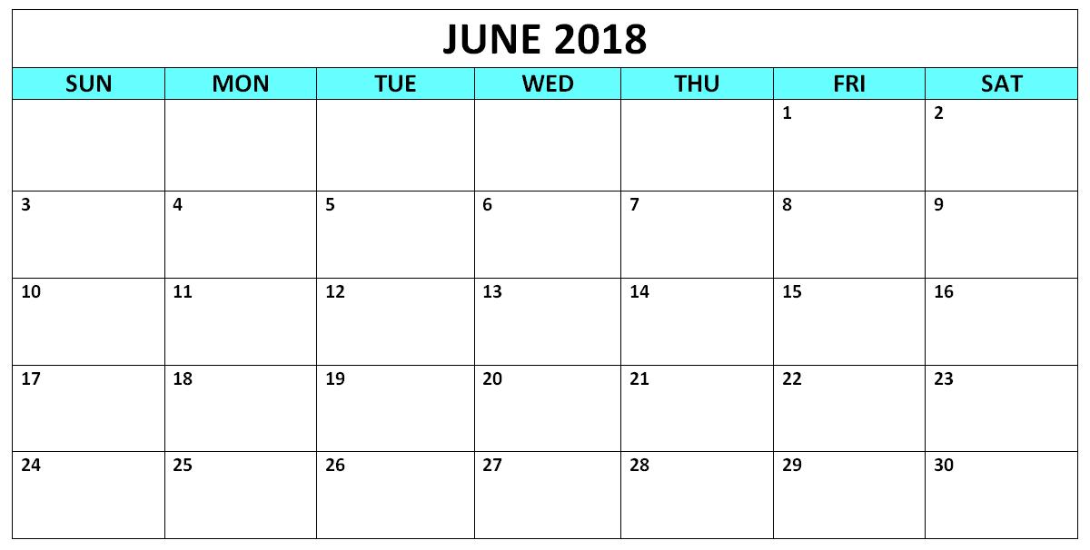 Free Calendar June 2018 Download