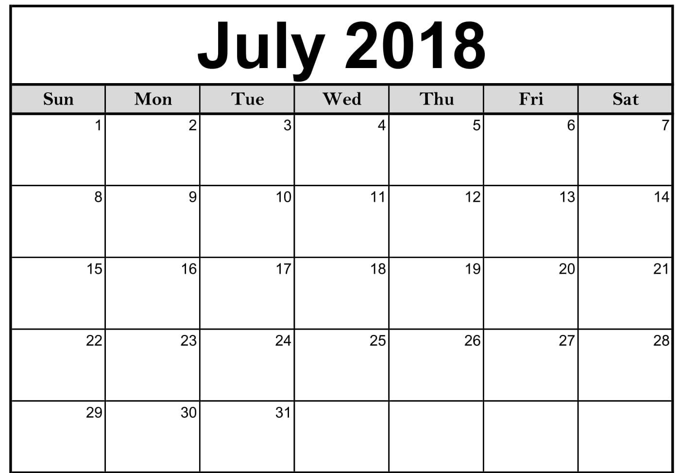Free Download July 2018 Calendar