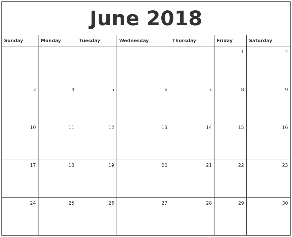 Free June 2018 Monthly Calendar Download