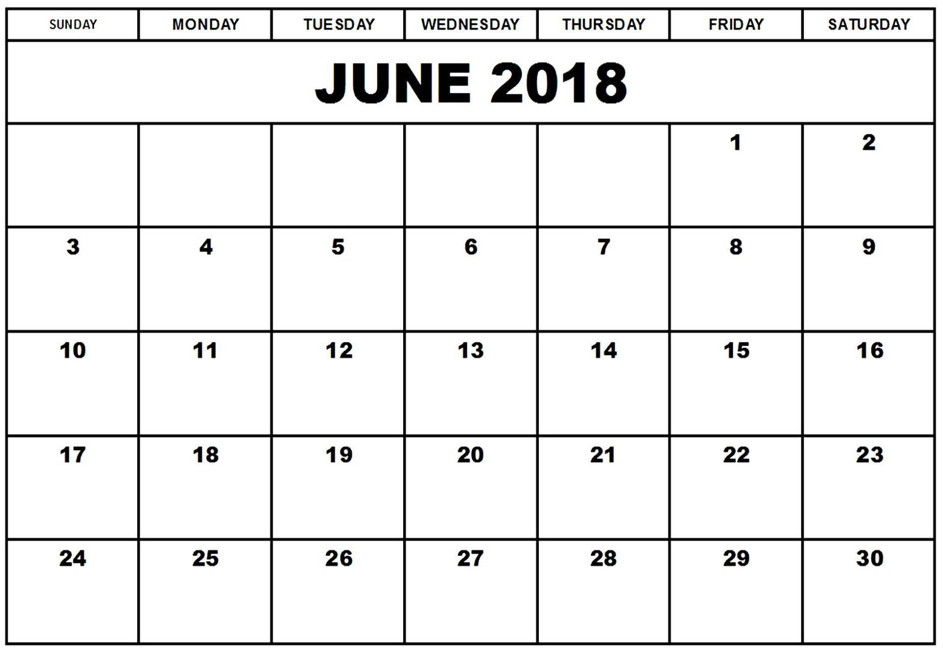 Free June 2018 Monthly Calendar