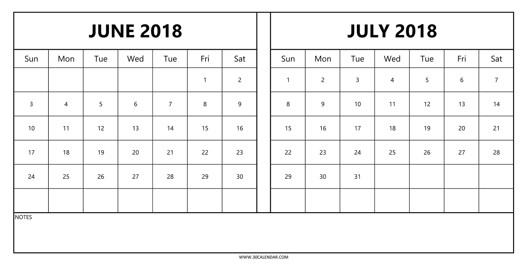 Free June and July 2018 Calendar