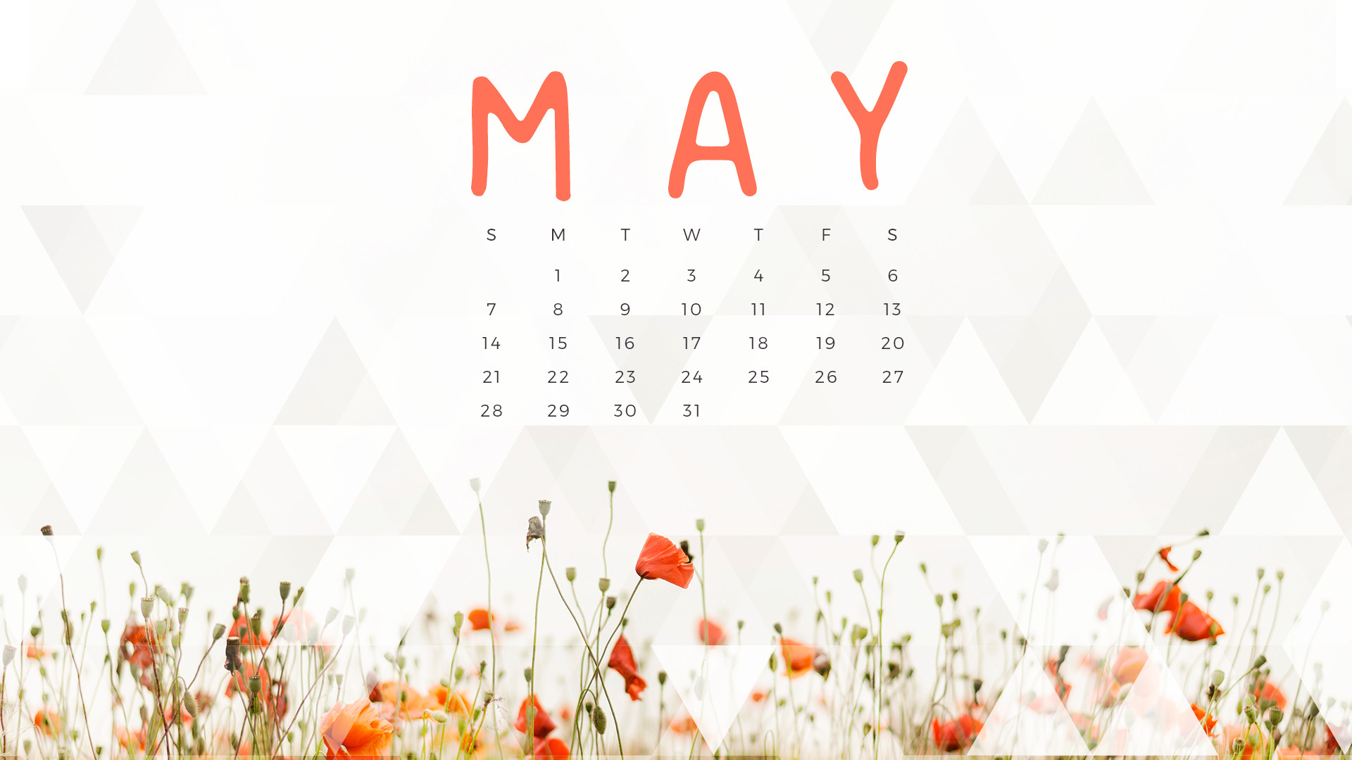 Free May 2018 Wall Calendar