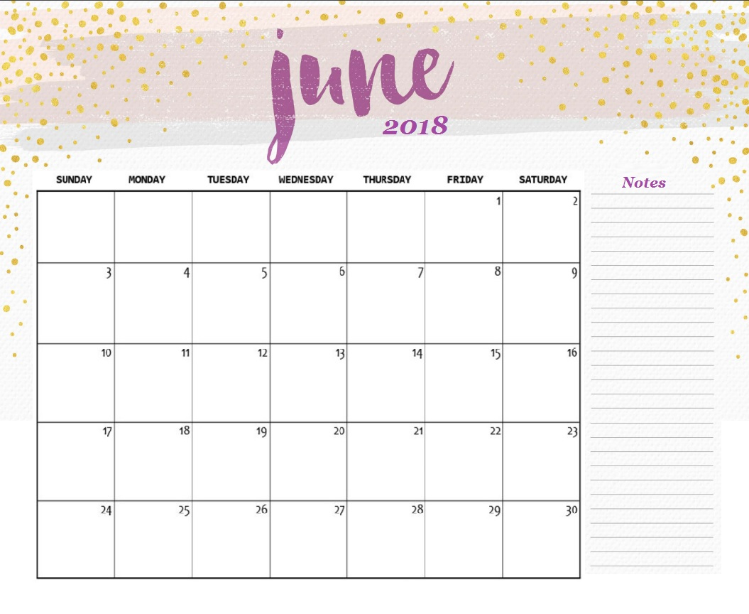Free Printable June 2018 Desk Portrait Calendar