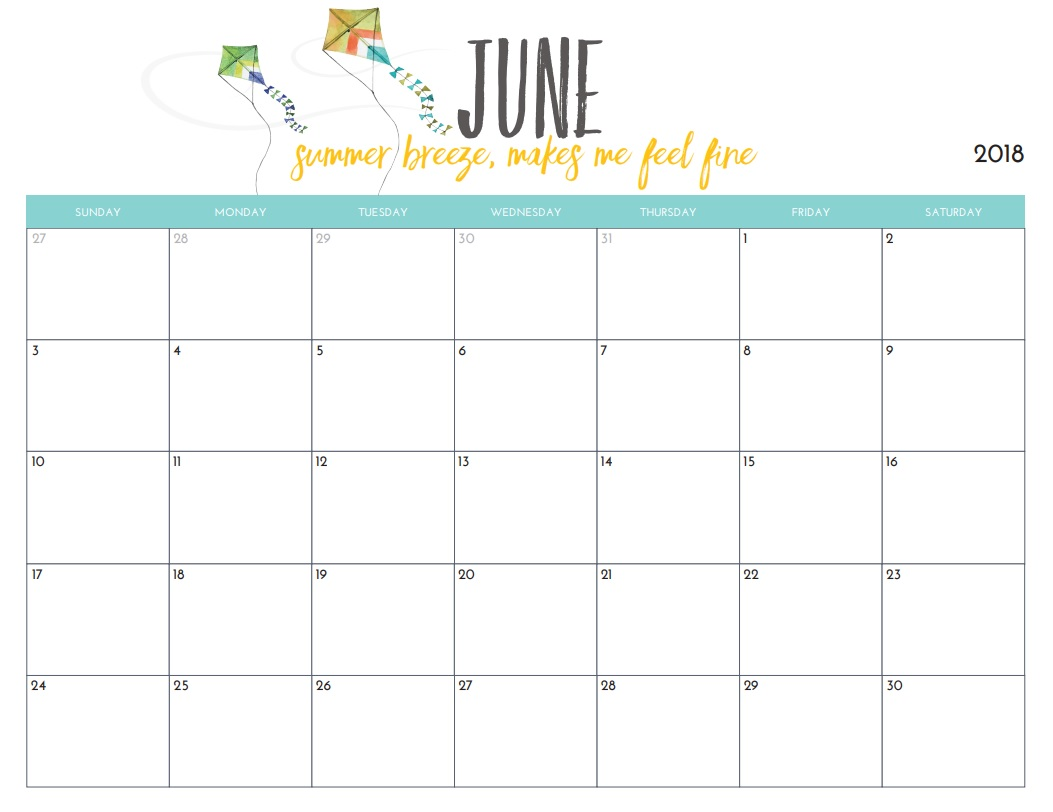 Free Printable June 2018 Tumblr Calendar