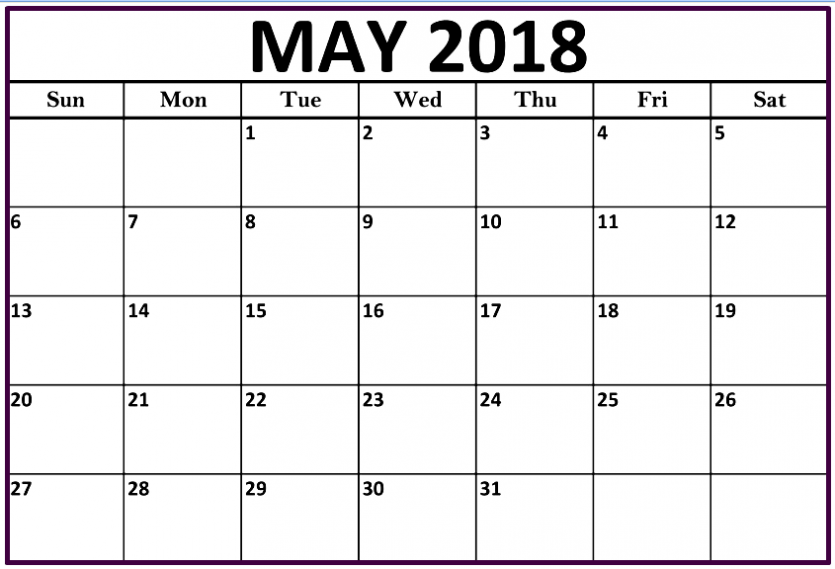 Free Printable May 2018 Calendar Excel