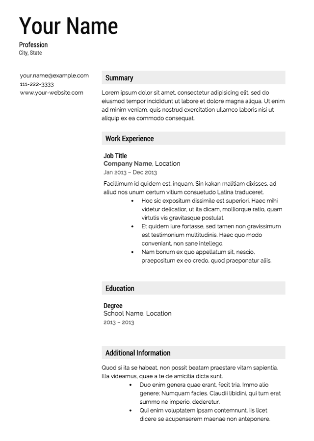 Free Professional Resume for Job