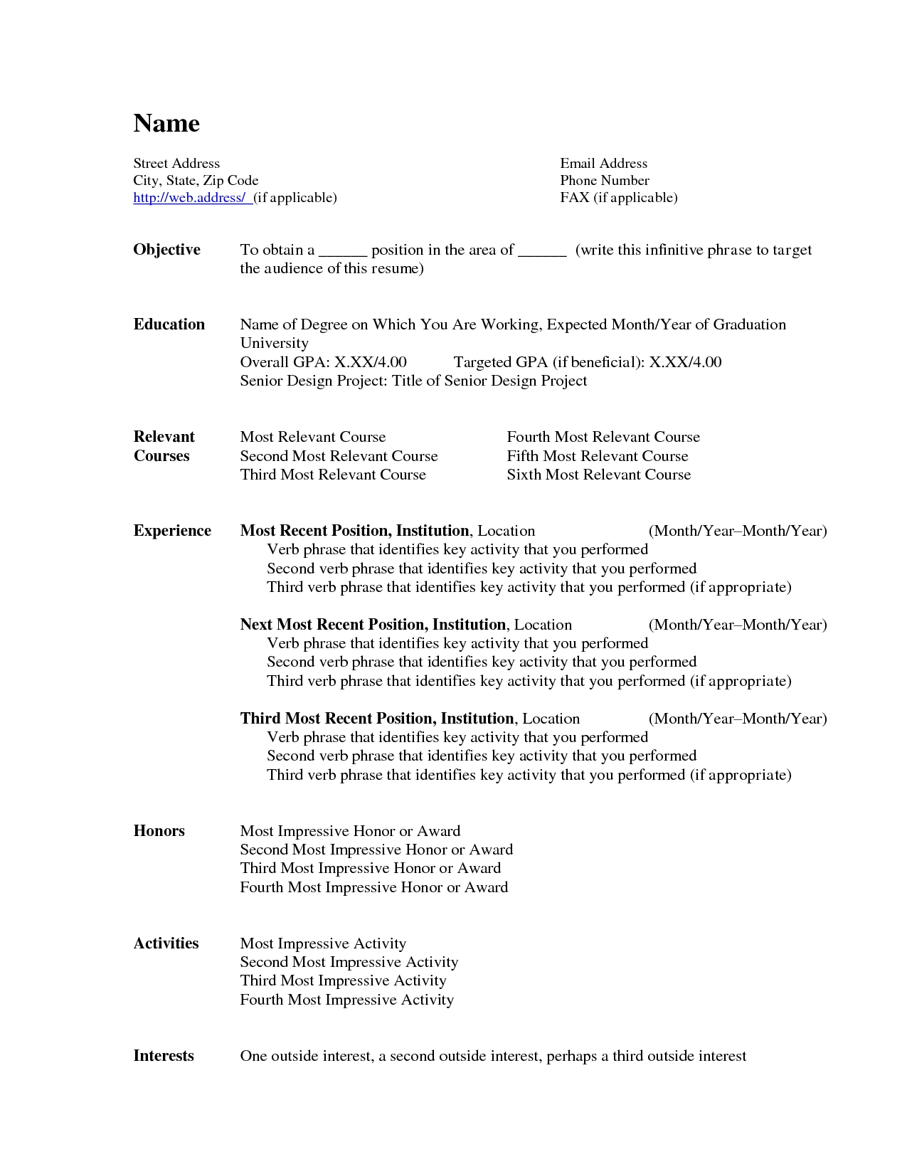 Free Stylish Professional Resume