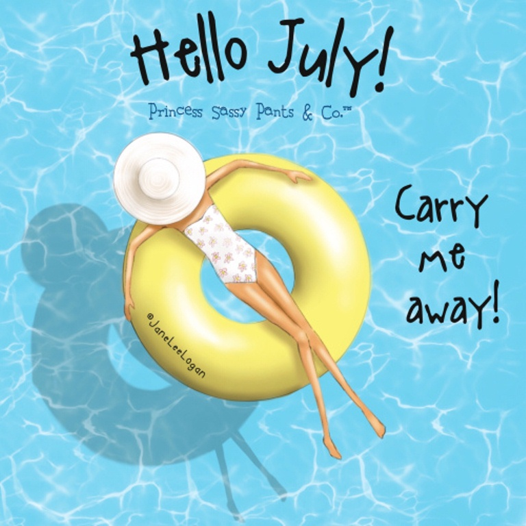 Hello July Pool Wallpaper