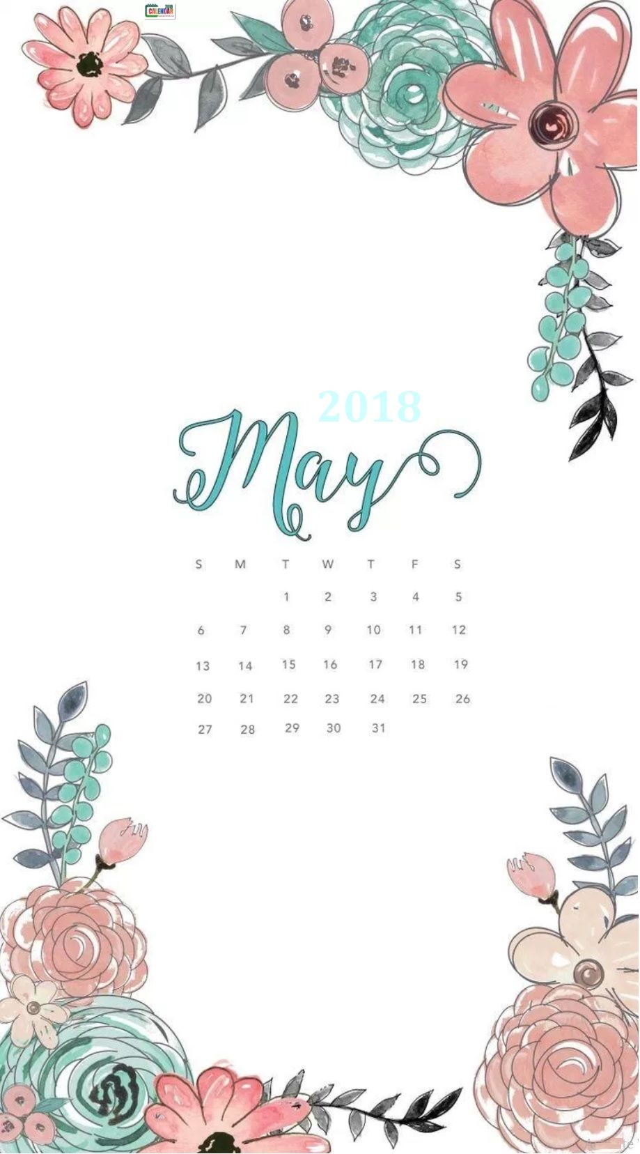 Hello May 2018 Calendar Wallpaper for iPhone