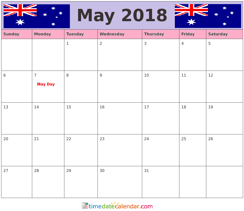 Holidays in May 2018 Calendar