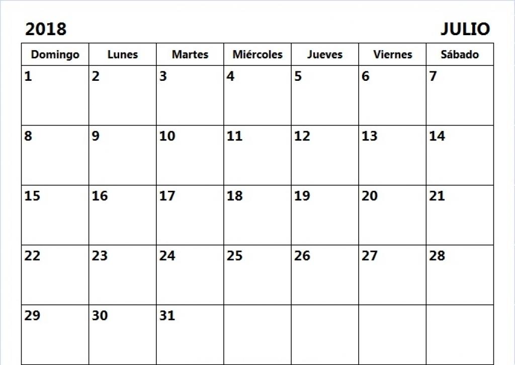 Imprimir Calendario Julio 2018