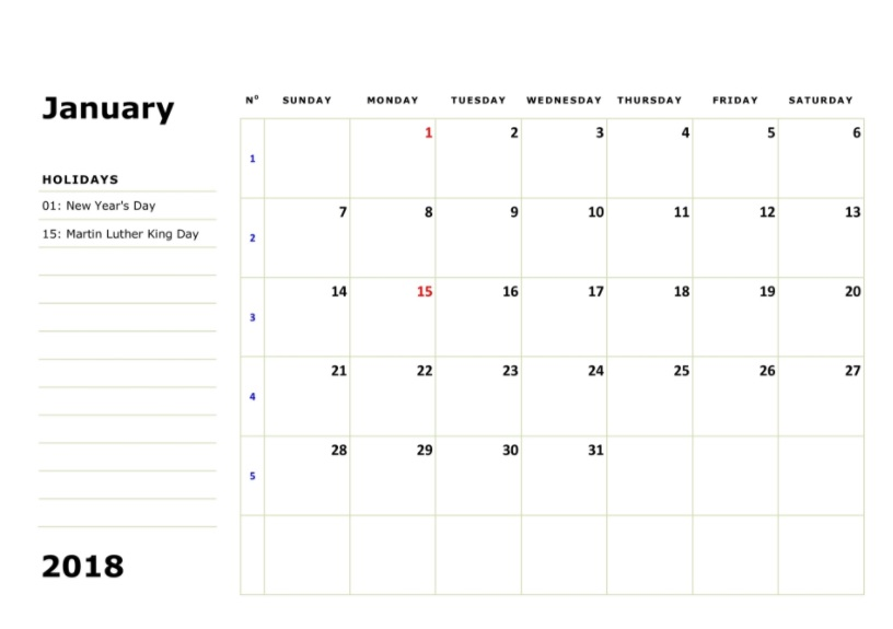 January 2018 Holidays Calendar Blank