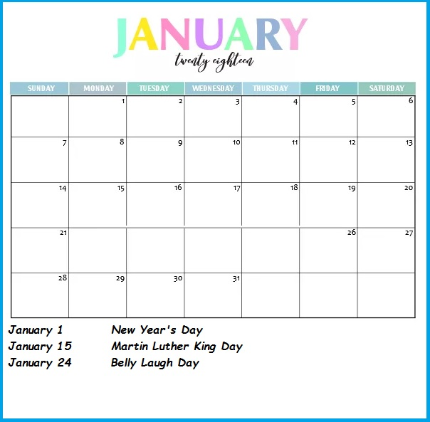 January 2018 Monthly Holiday Calendar