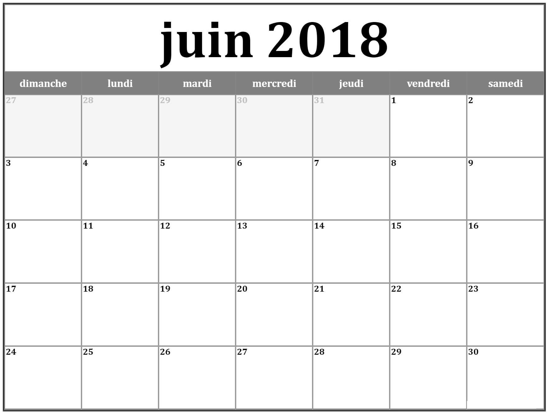 Juin 2018 Calendrier Imprimable Modèles