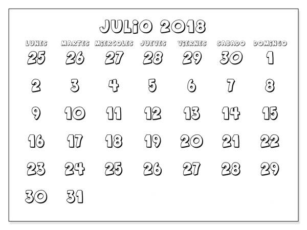 Julio 2018 Calendario Para Imprimir