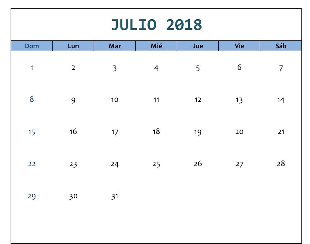 Julio 2018 Calendario Word