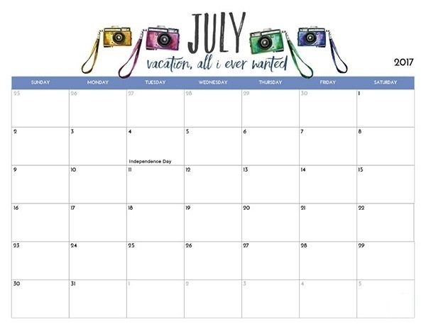 July 2018 Calendar Download