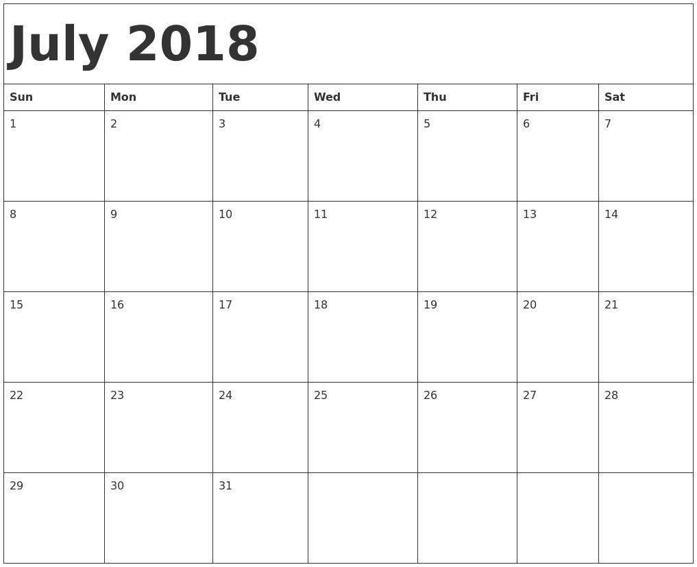 July 2018 Calendar Free