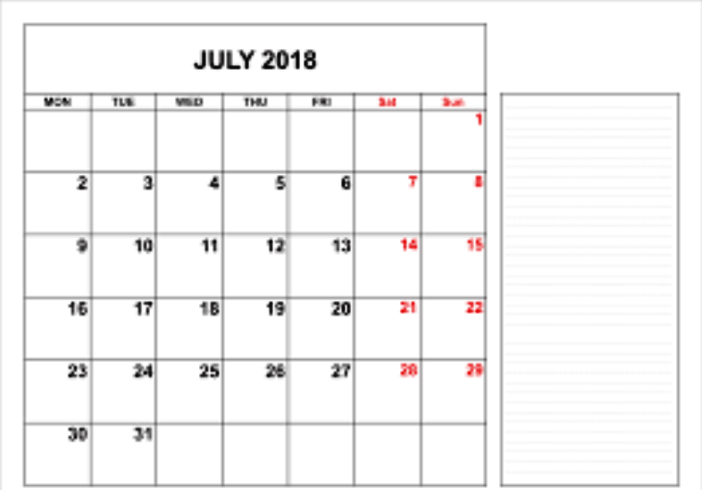 July 2018 Calendar Printable With Notes