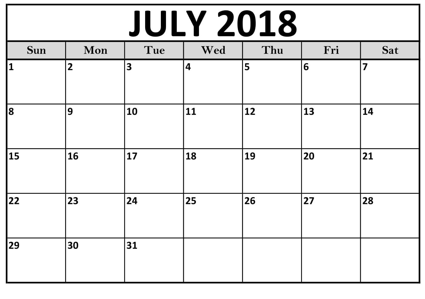 July 2018 Calendar Psd