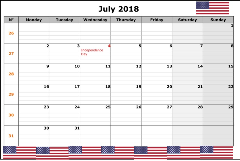 July 2018 US Holidays Calendar