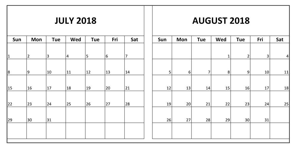 July August Calendar 2018