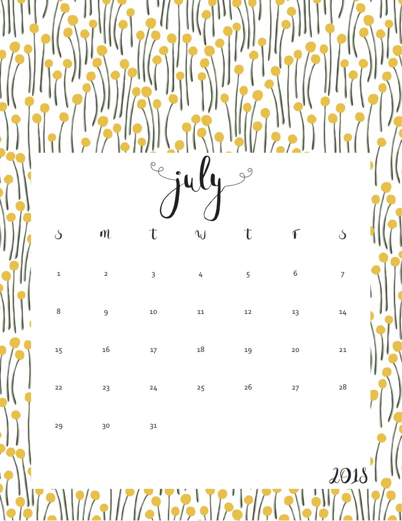 July Calendar 2018 For Kids