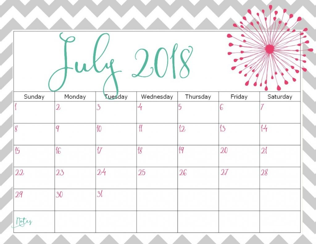 July Calendar 2018 Free Download