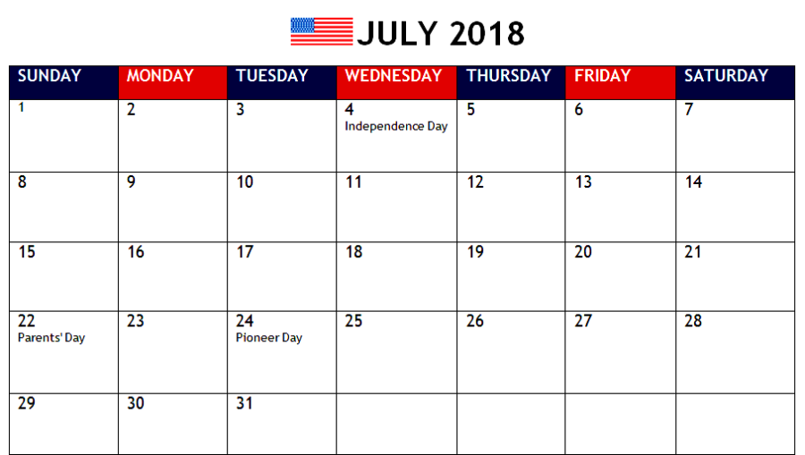 July Calendar 2018 Holidays India