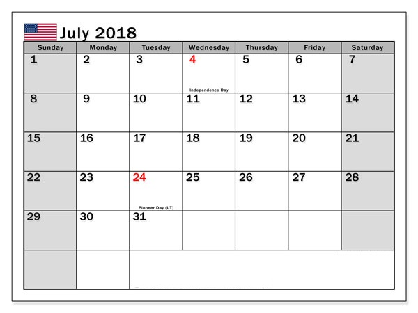 July Calendar 2018 Holidays List
