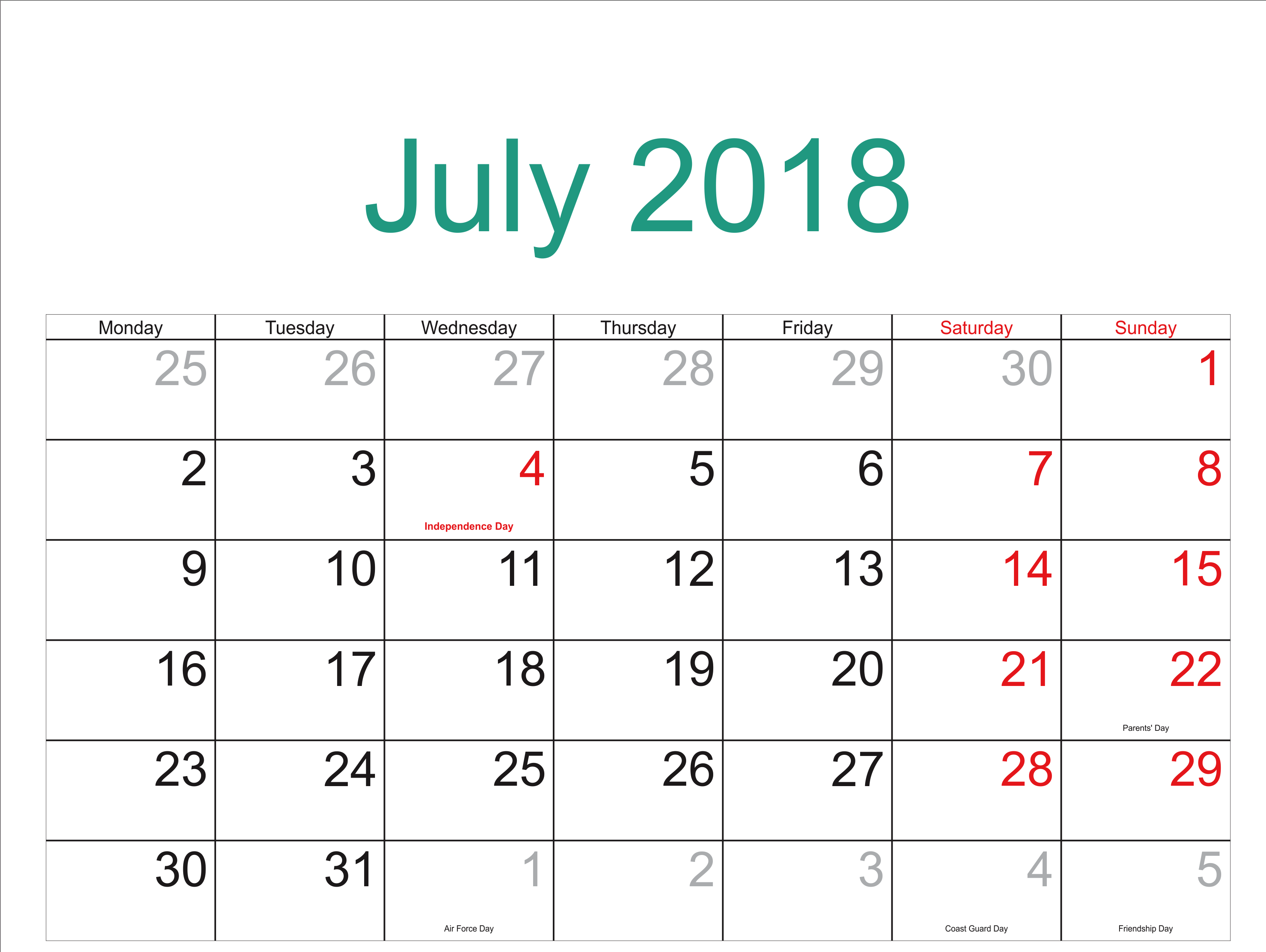 July Calendar 2018 Holidays Printable