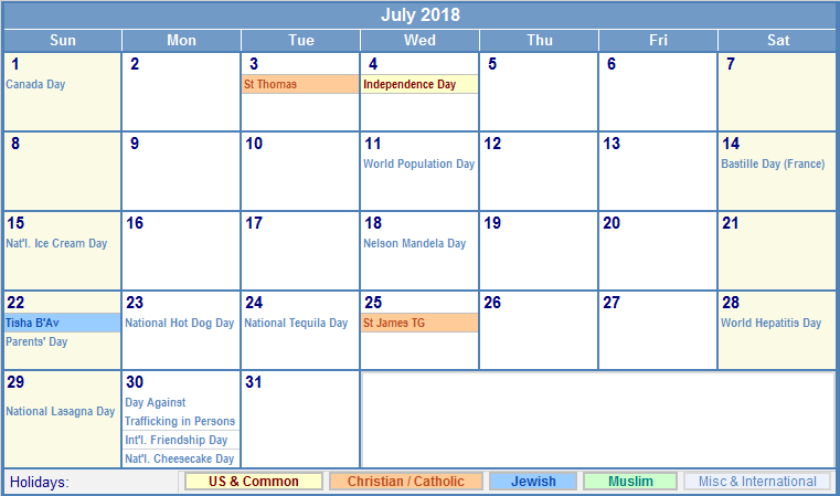 July Calendar 2018 Holidays UK