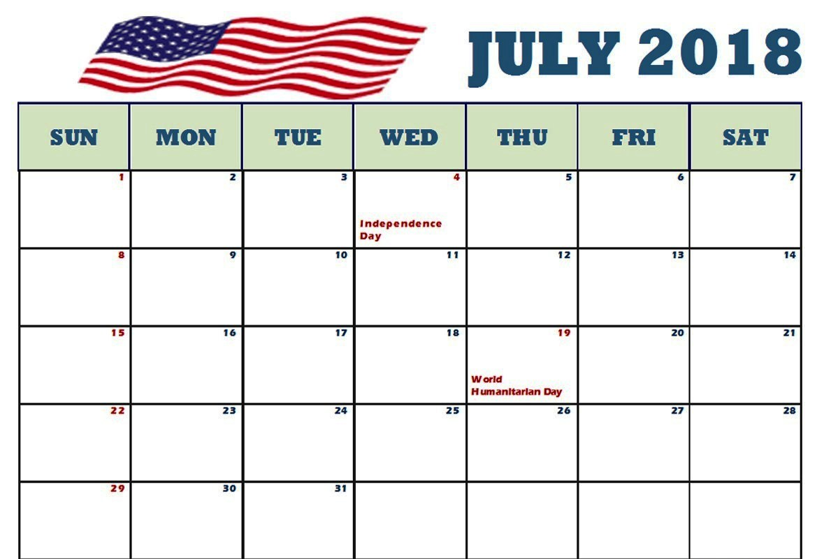 July Calendar 2018 Holidays USA