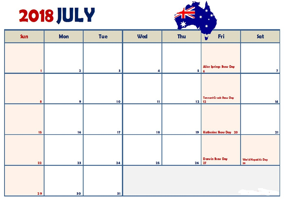 July Monthly Calendar 2018