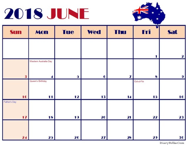 June 2018 Australia Calendar with Holidays