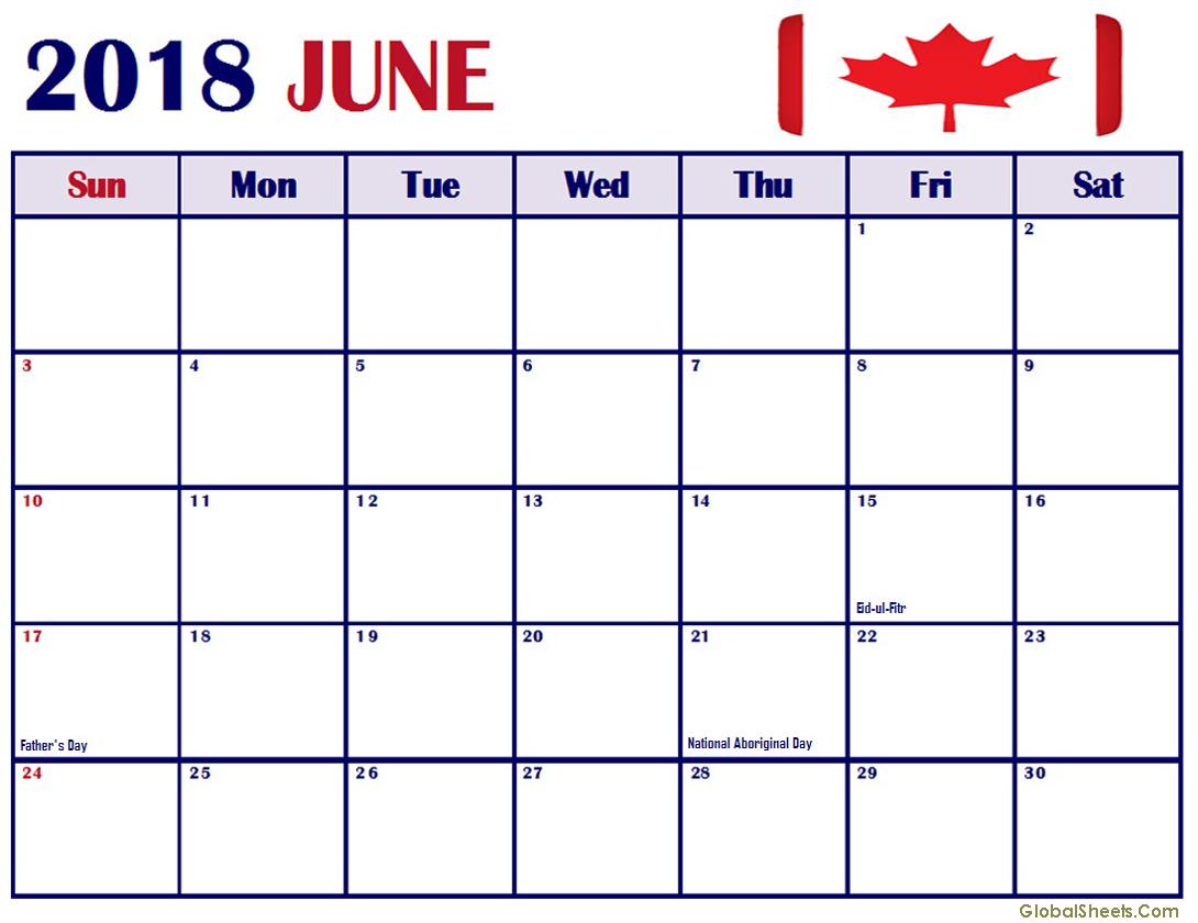 June 2018 Calendar Canada Holidays