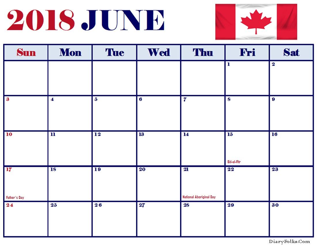 June 2018 Calendar Canada PrintableTemplate