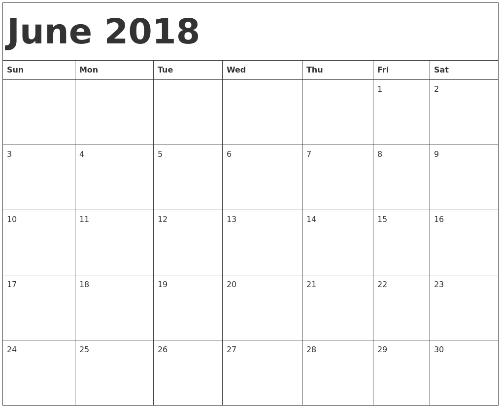 June 2018 Calendar Document