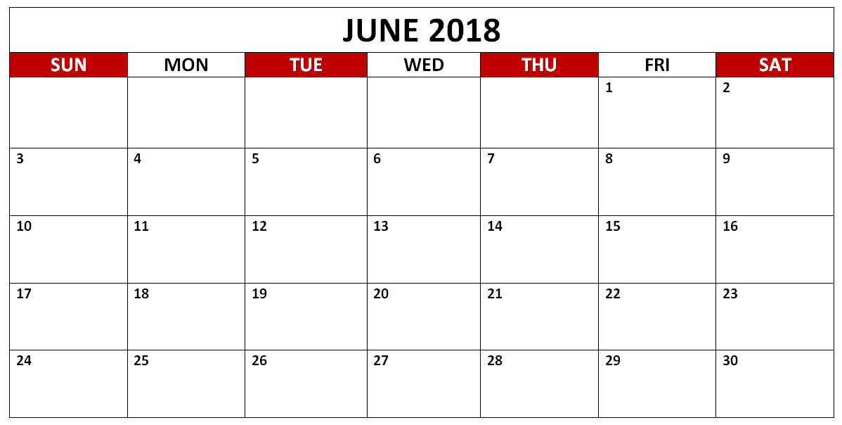June 2018 Calendar Download