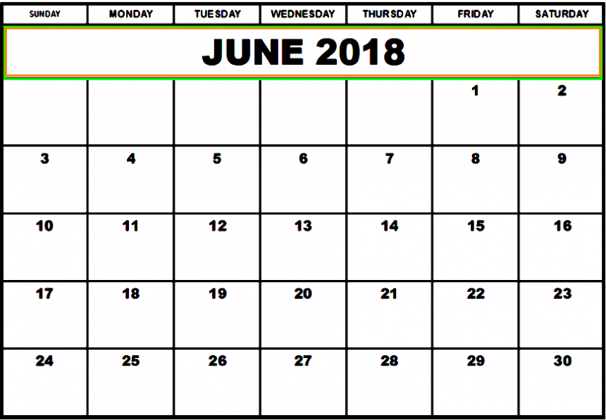 June 2018 Calendar Download Hd Quality
