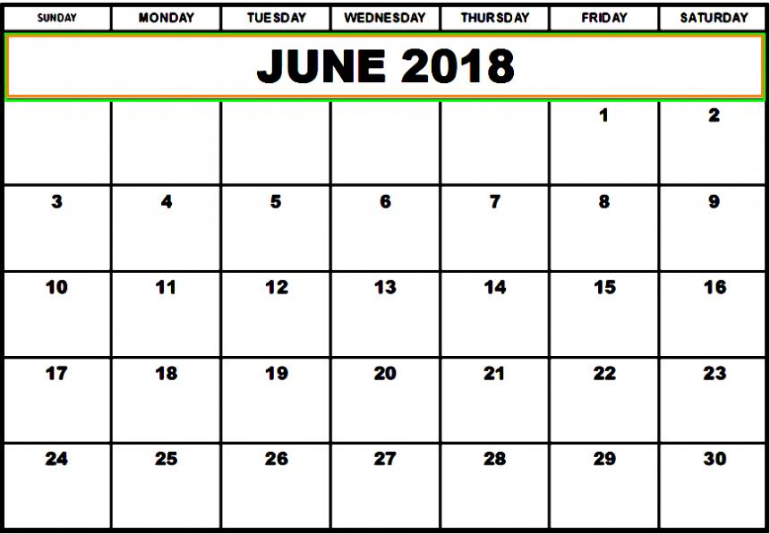 June 2018 Calendar Download Hd Quality