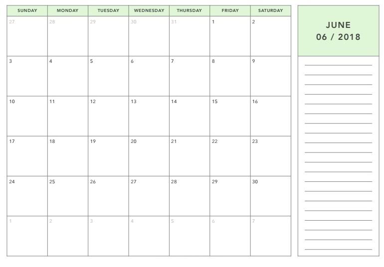 June 2018 Calendar Download Images