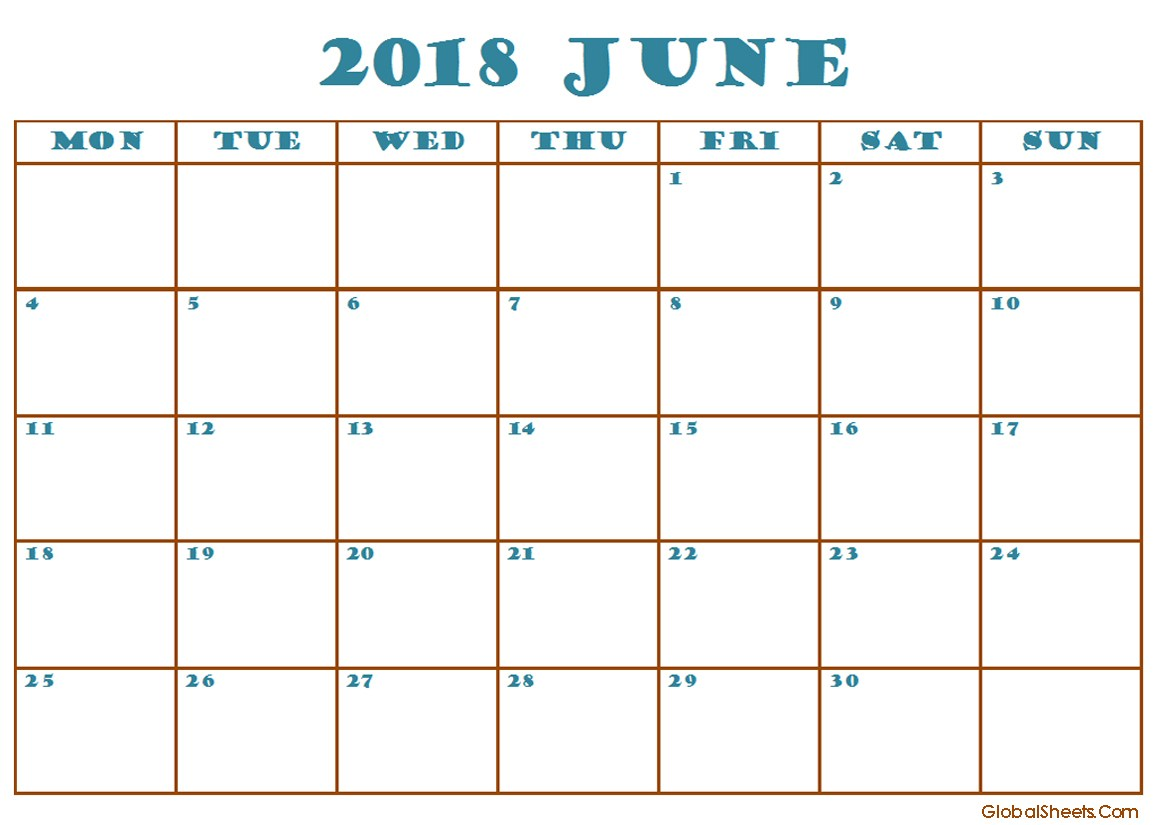 June 2018 Calendar Excel Template