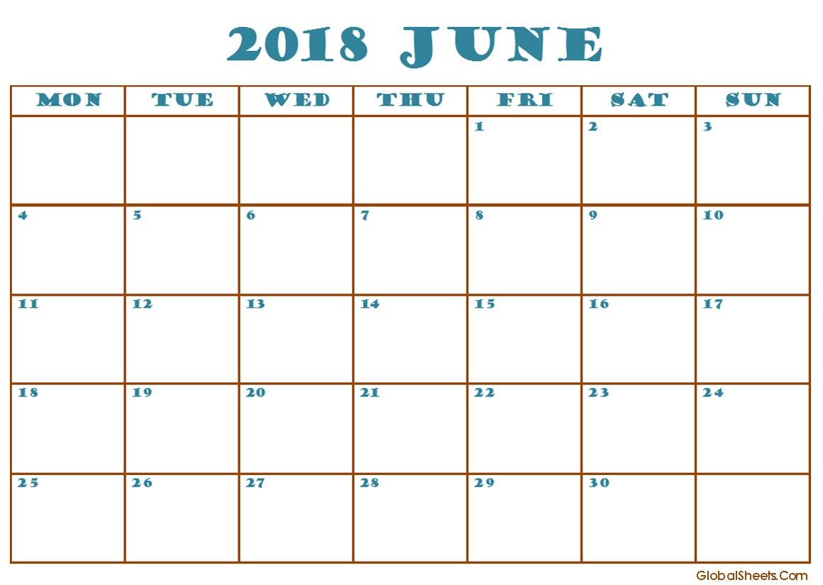 June 2018 Calendar Excel Template