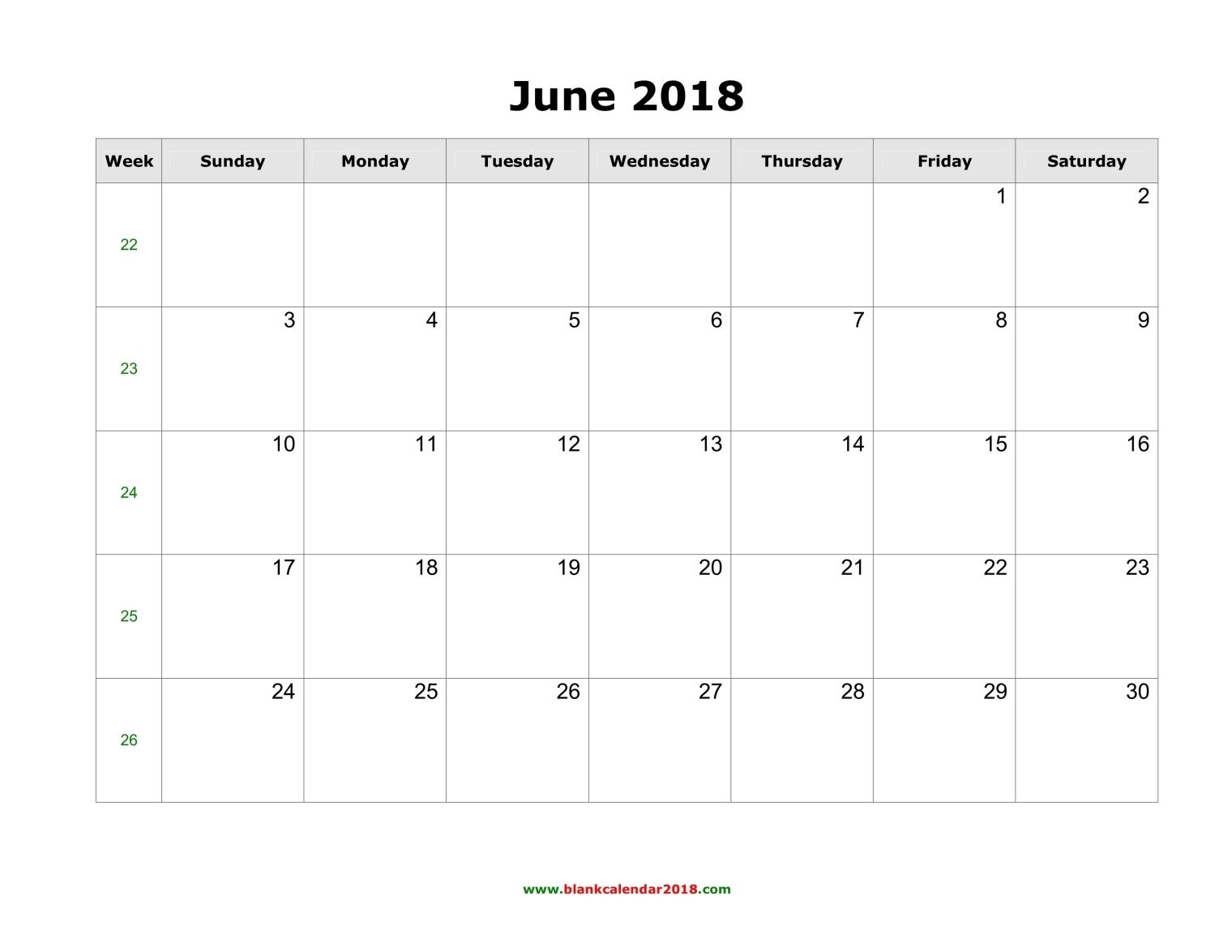 June 2018 Calendar Landscape