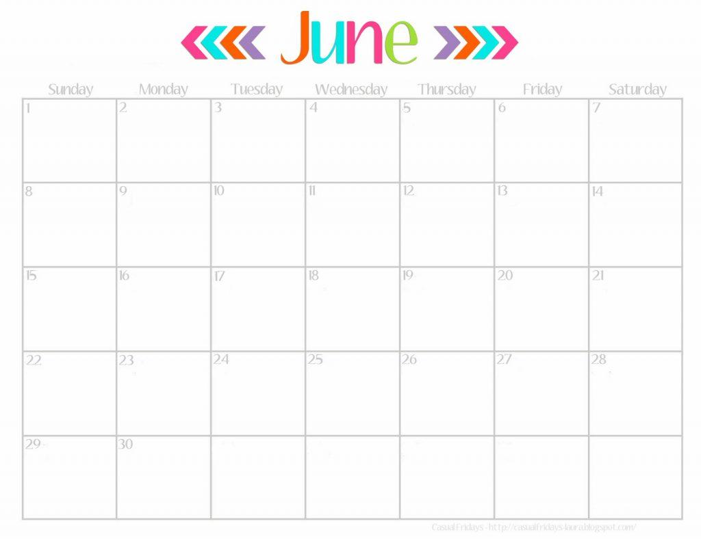 June 2018 Calendar Page Template