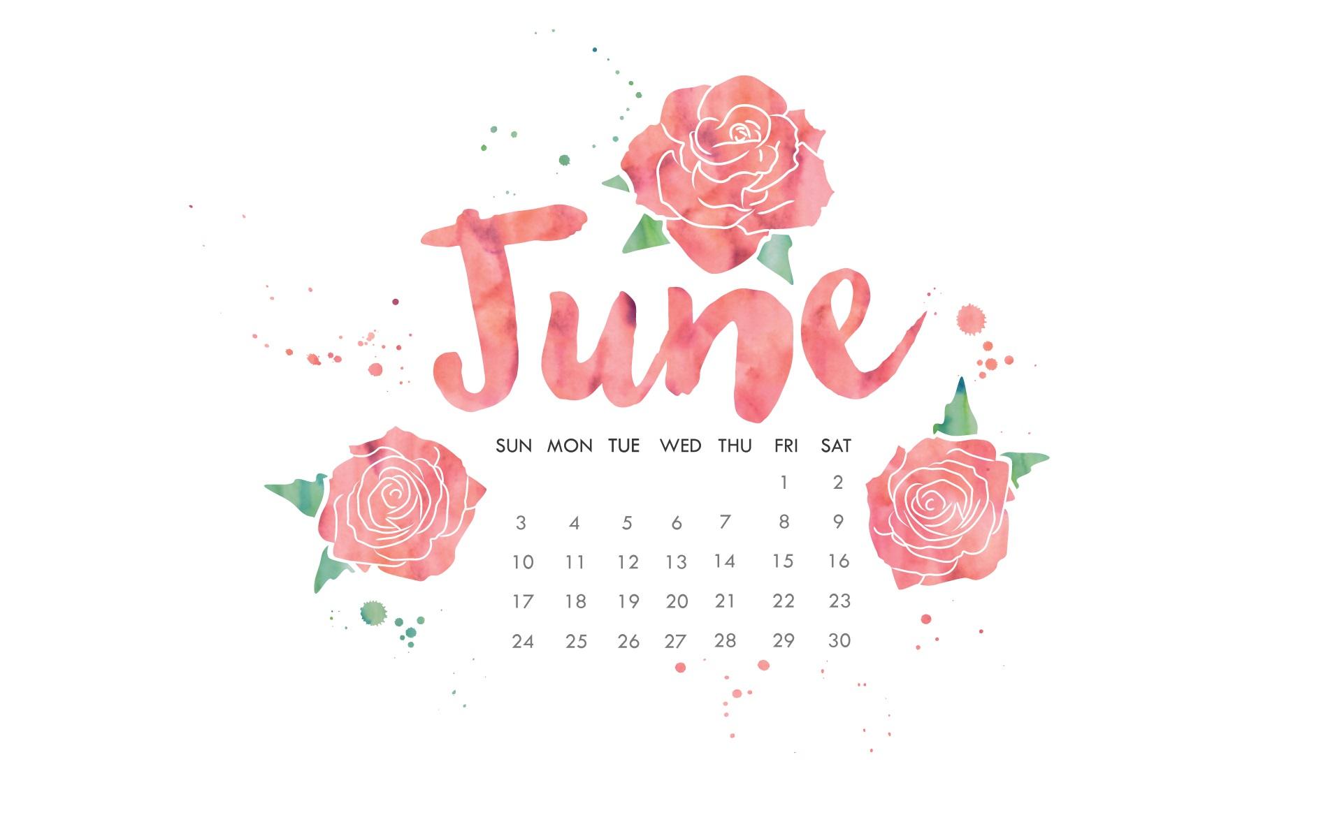 June 2018 Calendar Pink